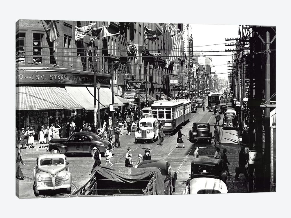 Yonge Street, Toronto, Vintage Photo by PI Collection 1-piece Canvas Art Print