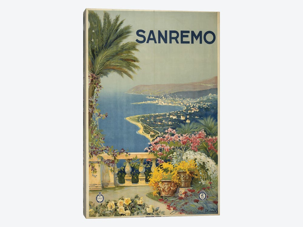 San Remo, Italy Travel Poster by PI Collection 1-piece Canvas Print