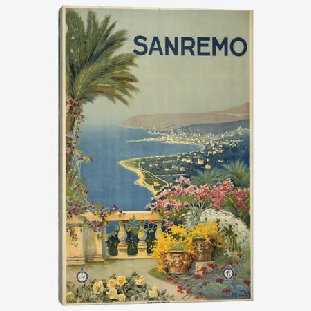 San Remo, Italy Travel Poster Canvas Print #PIC80} by PI Collection Canvas Art