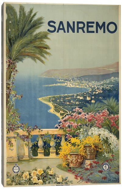 San Remo, Italy Travel Poster Canvas Art Print