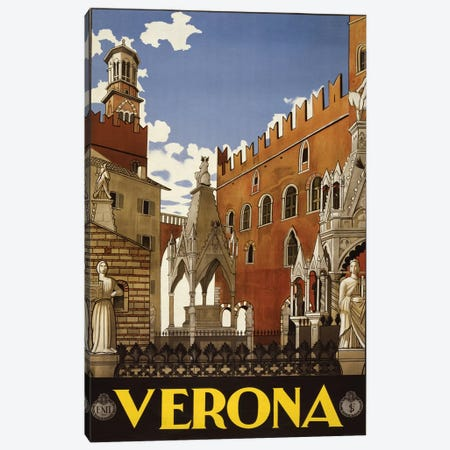 Verona, Italy Travel Poster Canvas Print #PIC97} by PI Collection Canvas Wall Art