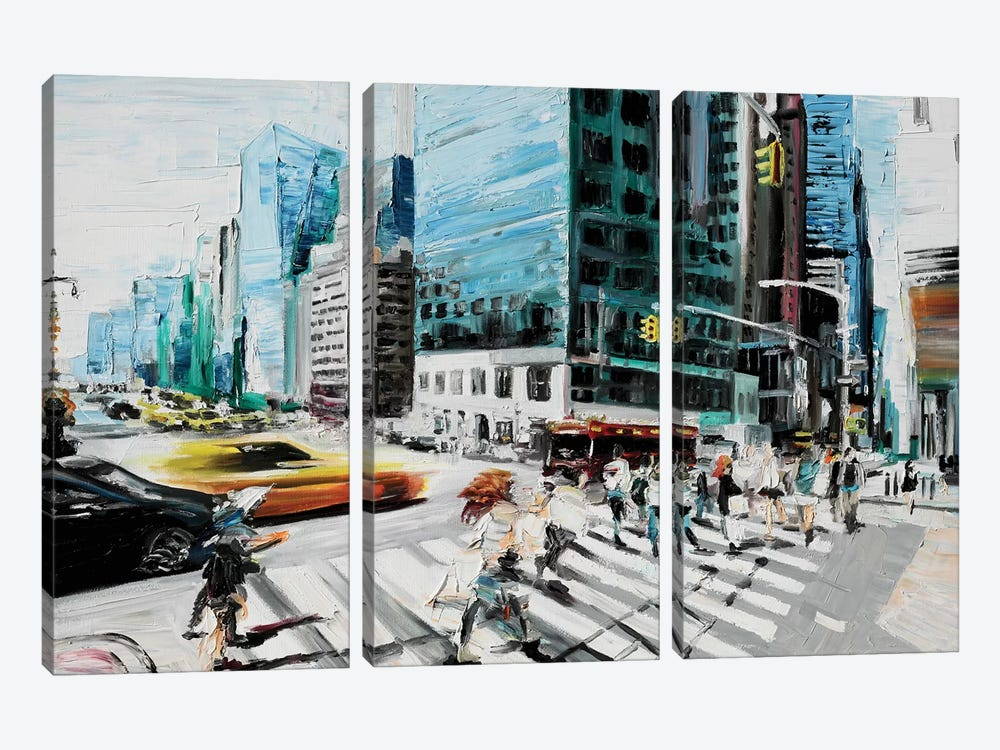 Walking In The Streets by Piero Manrique 3-piece Canvas Wall Art