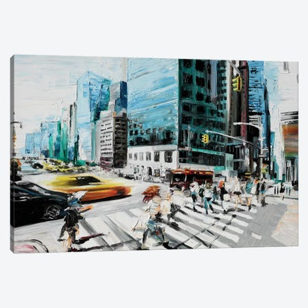 Walking In The Streets Canvas Print #PIE120} by Piero Manrique Canvas Wall Art