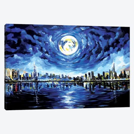 Moon Over New York Canvas Print #PIE34} by Piero Manrique Canvas Wall Art