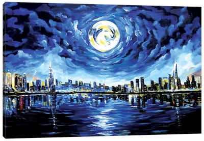 Moon Over New York Canvas Art Print