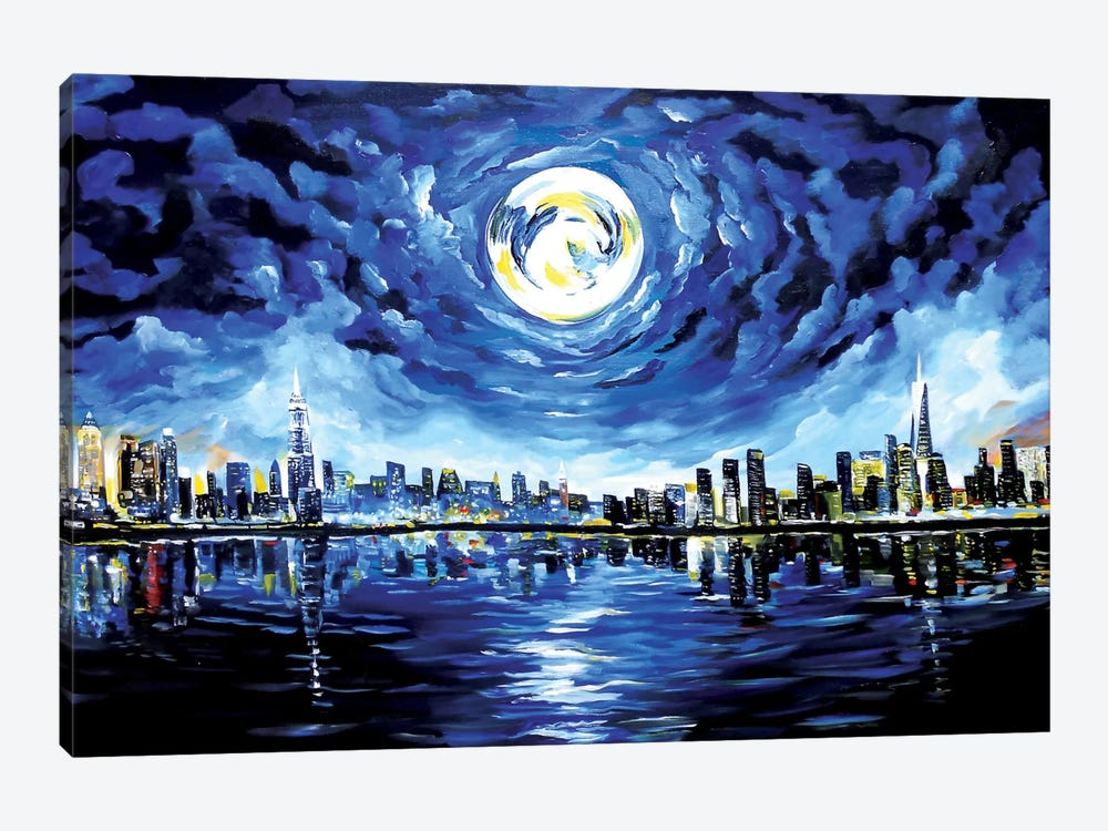 Moon Over New York 1-piece Canvas Artwork