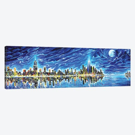 New York Sky Night Canvas Print #PIE36} by Piero Manrique Canvas Art