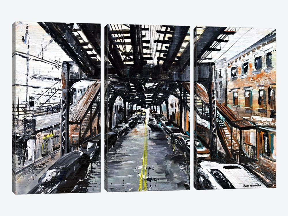 Under The Train by Piero Manrique 3-piece Canvas Wall Art