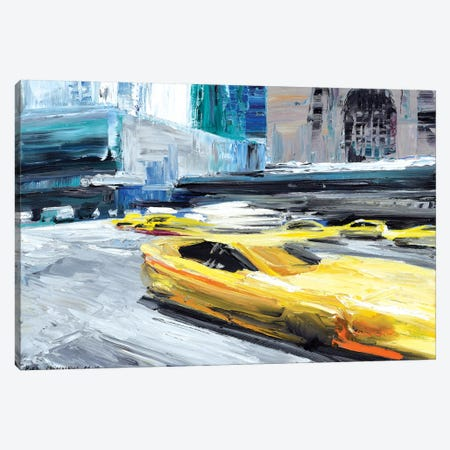 Taxi Ride Canvas Print #PIE76} by Piero Manrique Canvas Wall Art