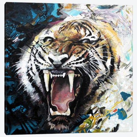 Tiger Roar Canvas Print #PIE93} by Piero Manrique Canvas Print