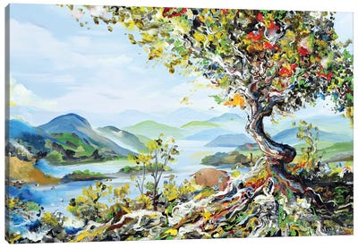 Tree With Mountains Canvas Art Print
