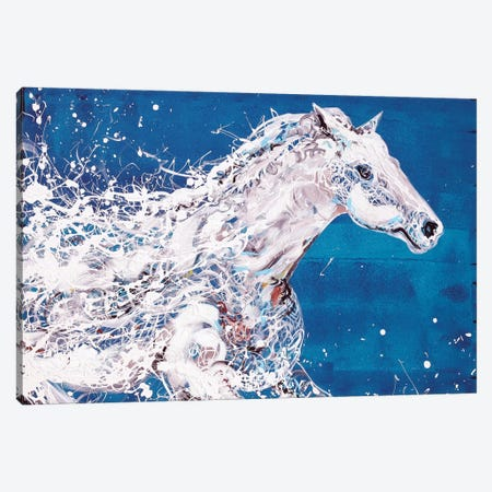 White Horse Canvas Print #PIE97} by Piero Manrique Canvas Wall Art