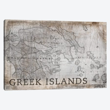 Greek Islands Map, Vintage Canvas Print #PIG106} by PI Galerie Canvas Art