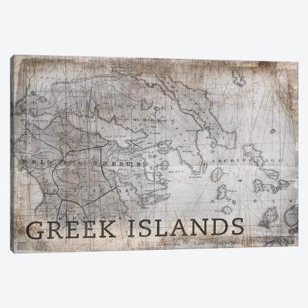Greek Islands Map, Vintage Canvas Print #PIG106} by PI Galerie Canvas Art