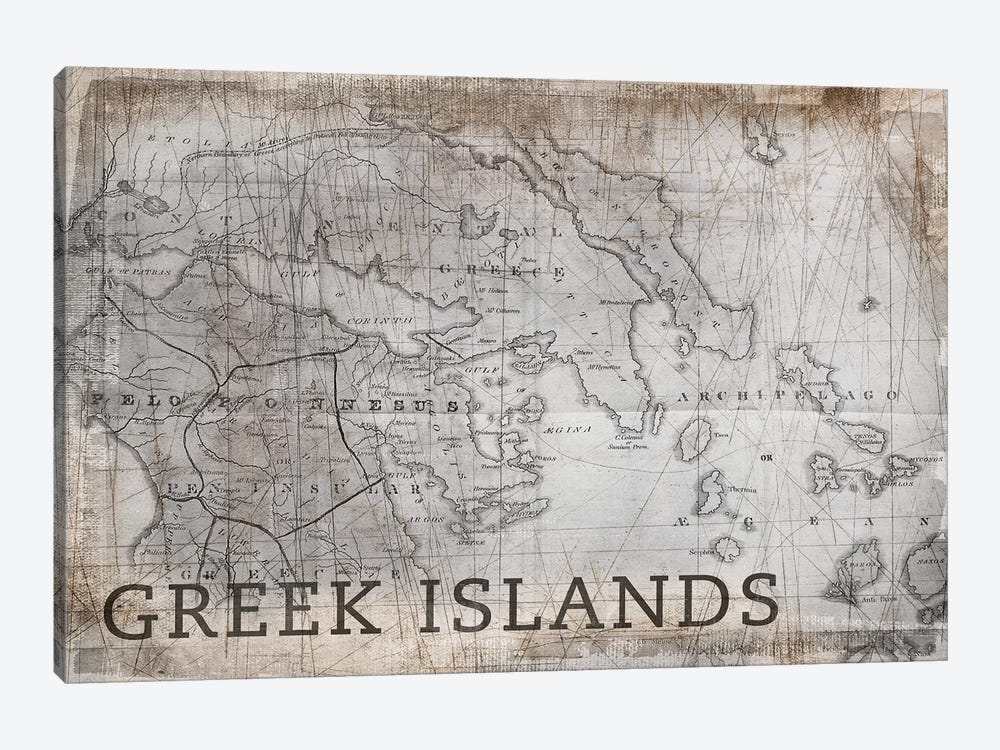 Greek Islands Map, Vintage by PI Galerie 1-piece Canvas Wall Art