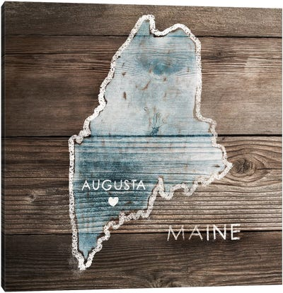 Maine Rustic Map Canvas Art Print