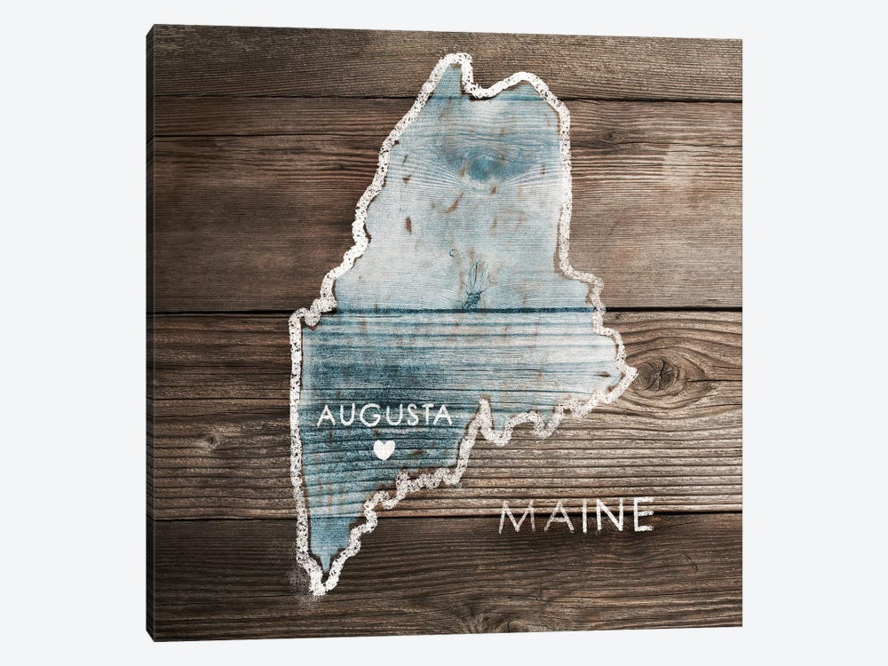 Maine Rustic Map by PI Galerie 1-piece Canvas Artwork
