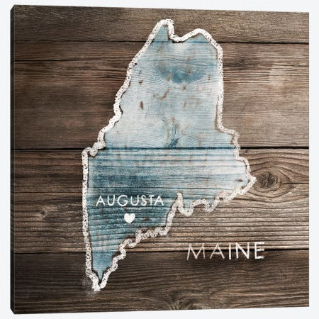 Maine Rustic Map Canvas Print #PIG160} by PI Galerie Canvas Print