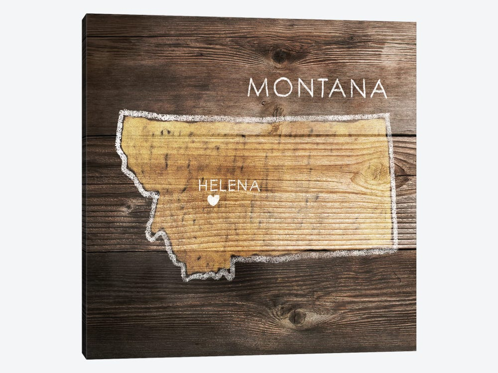 Montana Rustic Map by PI Galerie 1-piece Canvas Art Print