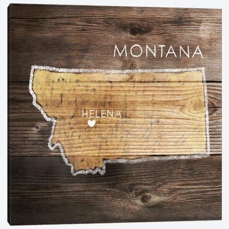 Montana Rustic Map Canvas Print #PIG172} by PI Galerie Canvas Art