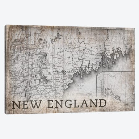 New England Map, Vintage Canvas Print #PIG177} by PI Galerie Canvas Print