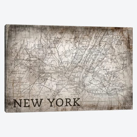New York Map, Vintage Canvas Print #PIG178} by PI Galerie Canvas Wall Art