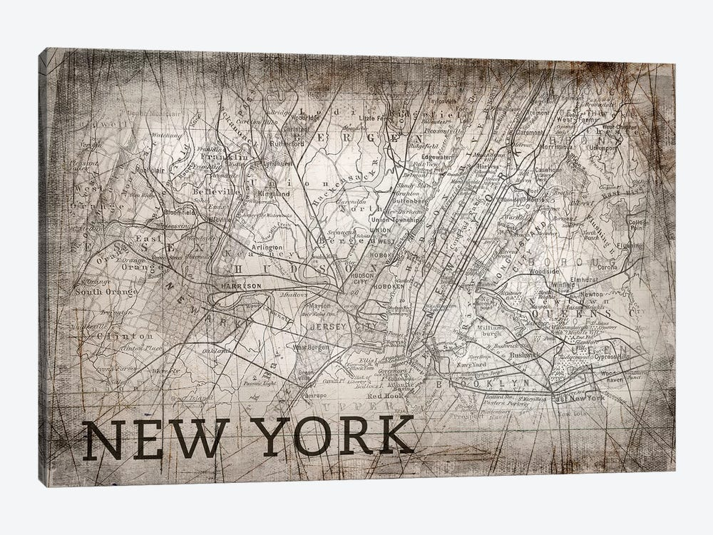 New York Map, Vintage by PI Galerie 1-piece Canvas Art Print