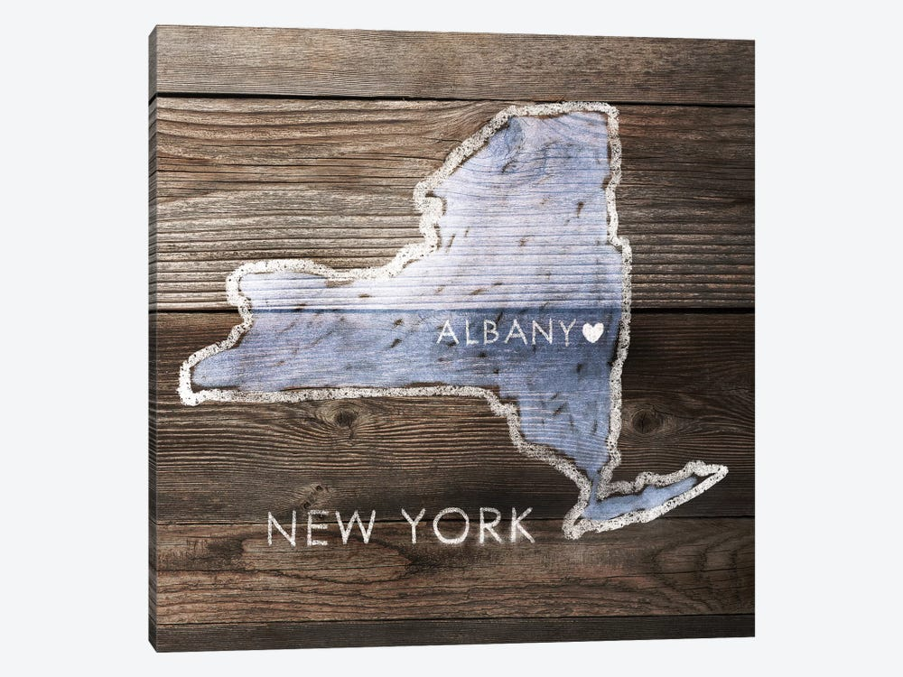 New York Rustic Map by PI Galerie 1-piece Canvas Art