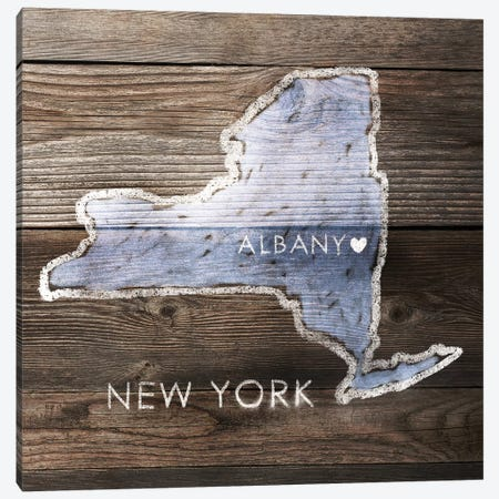 New York Rustic Map Canvas Print #PIG179} by PI Galerie Canvas Wall Art