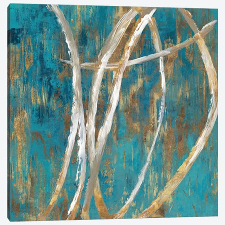 Teal Abstract II Canvas Print #PIG266} by PI Galerie Art Print