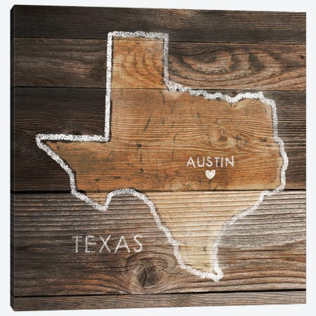 Texas Rustic Map Canvas Print #PIG271} by PI Galerie Art Print