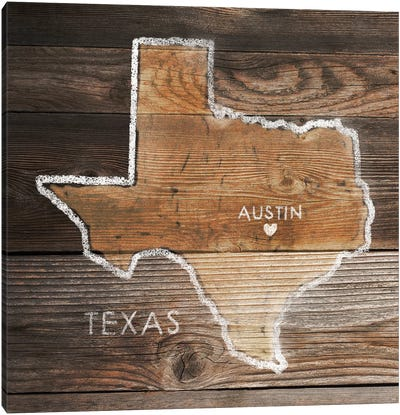 Texas Rustic Map Canvas Art Print