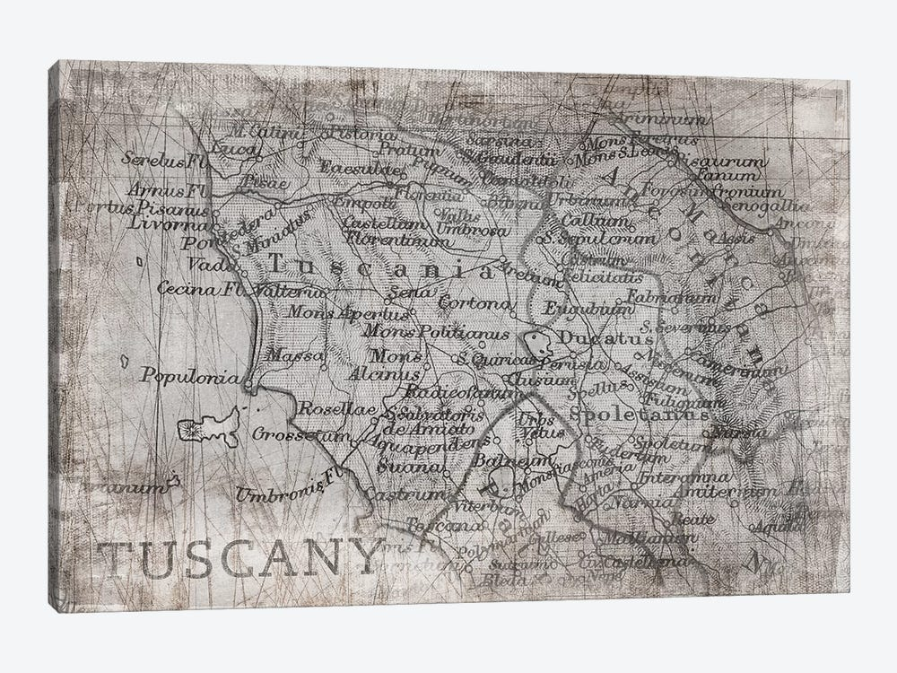 Tuscany Map White by PI Galerie 1-piece Art Print