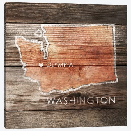 Washington Rustic Map Canvas Print #PIG289} by PI Galerie Canvas Art