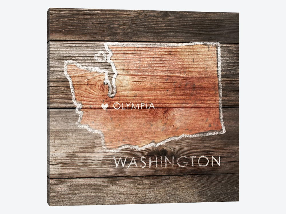 Washington Rustic Map by PI Galerie 1-piece Art Print