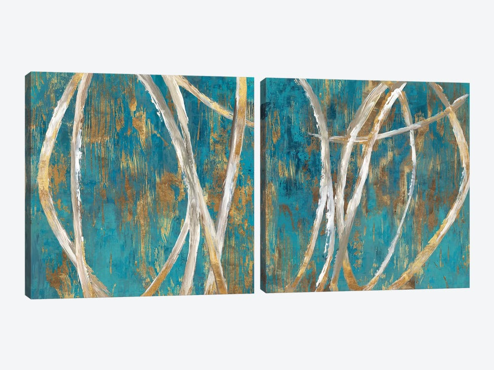 Teal Abstract Diptych by PI Galerie 2-piece Canvas Wall Art