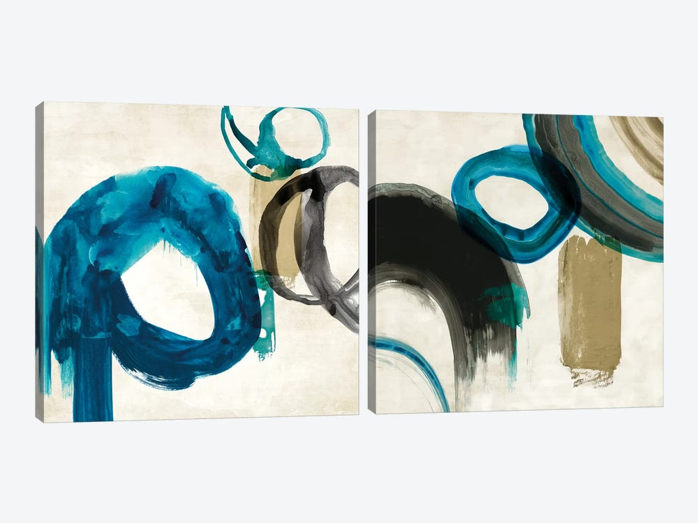 Blue Ring Diptych by PI Galerie 2-piece Canvas Art Print
