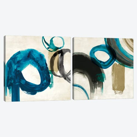 Blue Ring Diptych Canvas Print Set #PIG2HSET008} by PI Galerie Canvas Art Print