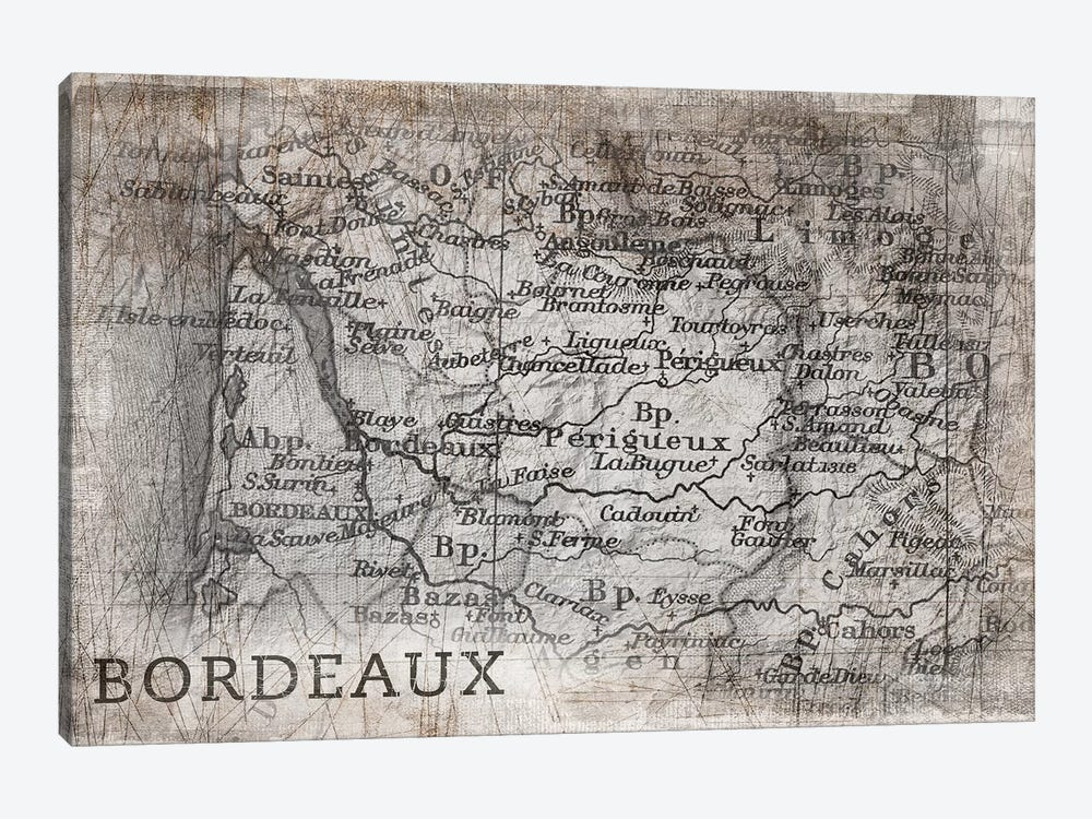 Bordeaux Map, Vintage by PI Galerie 1-piece Canvas Art Print
