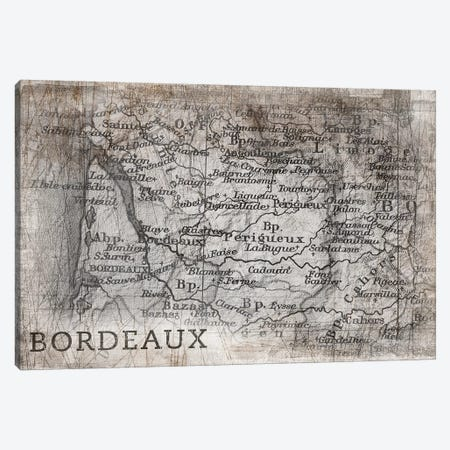 Bordeaux Map, Vintage Canvas Print #PIG36} by PI Galerie Canvas Wall Art