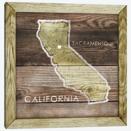 California Rustic Map Canvas Print #PIG42} by PI Galerie Canvas Art