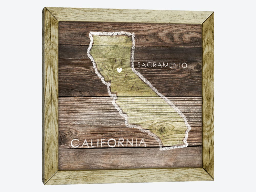 California Rustic Map by PI Galerie 1-piece Canvas Art