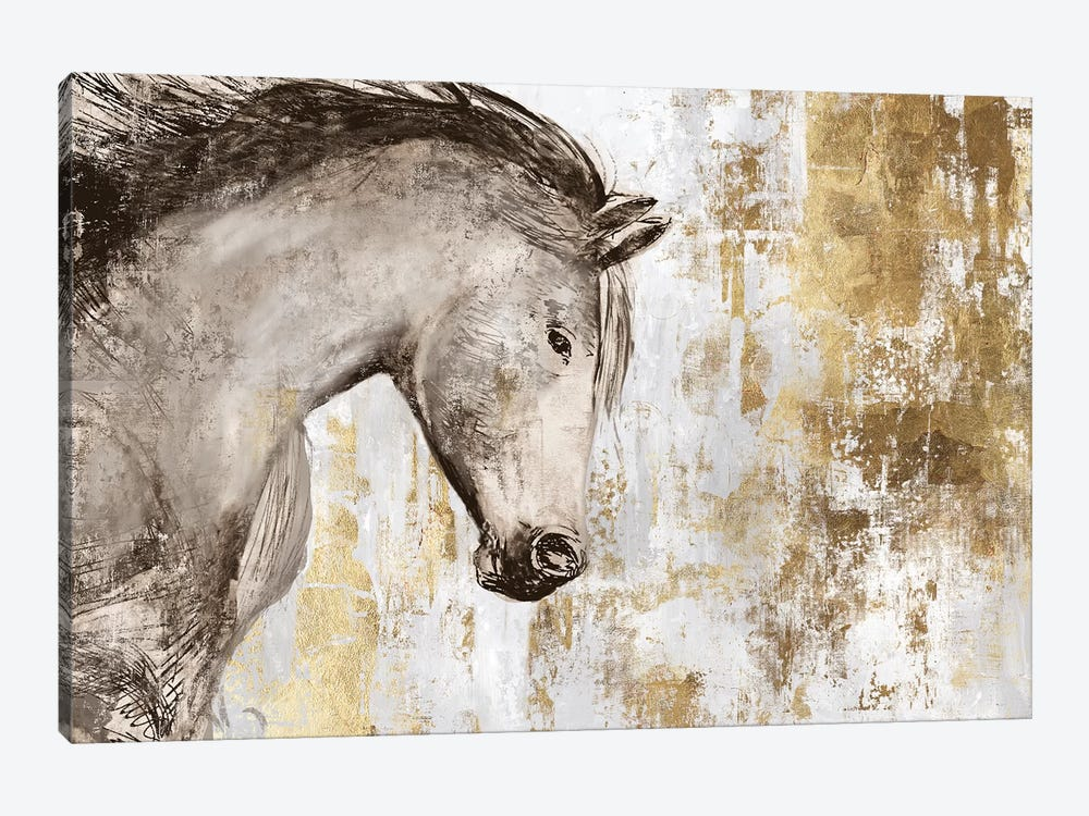 Equestrian Gold V by PI Galerie 1-piece Canvas Wall Art