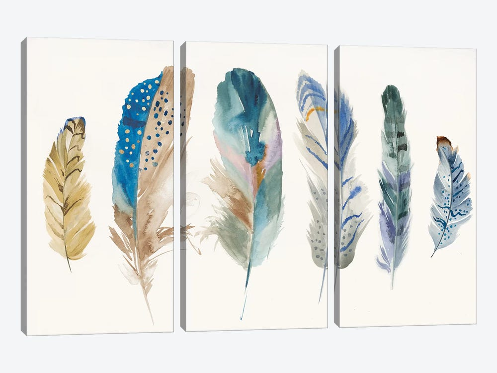 Feather Weather I by PI Galerie 3-piece Canvas Art Print