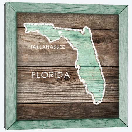 Florida Rustic Map Canvas Print #PIG80} by PI Galerie Canvas Wall Art