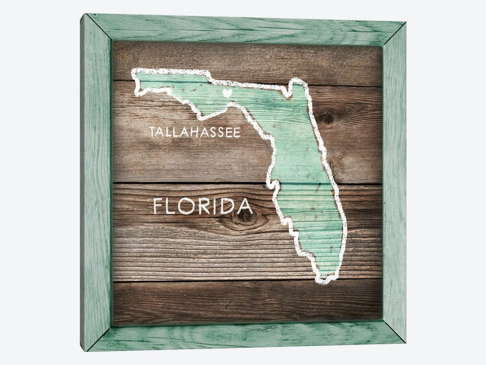 Florida Rustic Map by PI Galerie 1-piece Canvas Wall Art