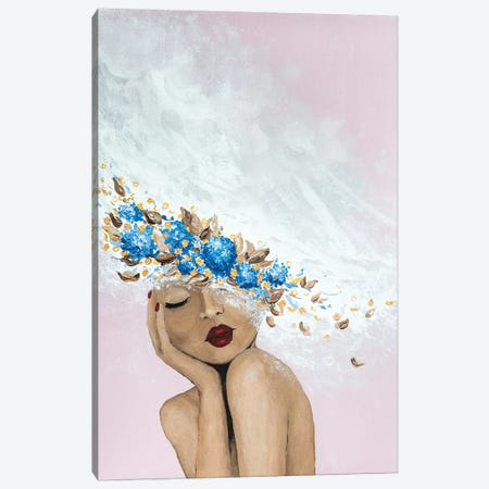 Lady Something Blue Canvas Print #PII14} by Piia Pievilainen Canvas Artwork