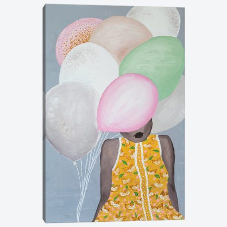 Lady Sweet Balloon Canvas Print #PII29} by Piia Pievilainen Canvas Artwork