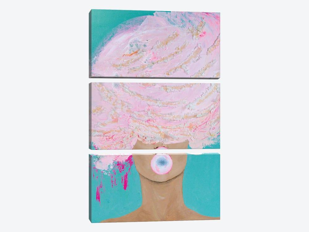 Lady Bubblelicious by Piia Pievilainen 3-piece Canvas Artwork