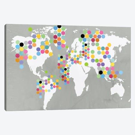 World Map Grey Canvas Print #PIJ5} by PI Juvenile Canvas Art